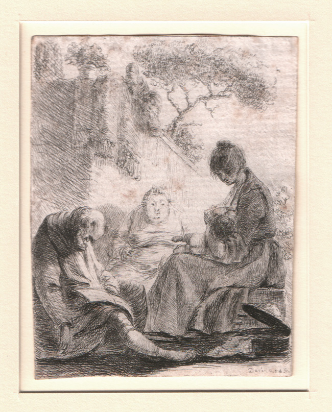 Denon,Family Seated Near a Wall